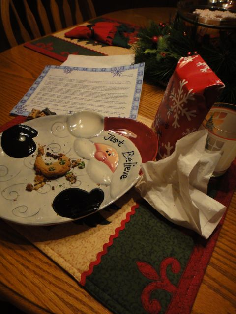 cookies, milk and note set out for Santa