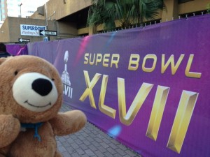 jack the Bear and world traveler outside the Super Dome