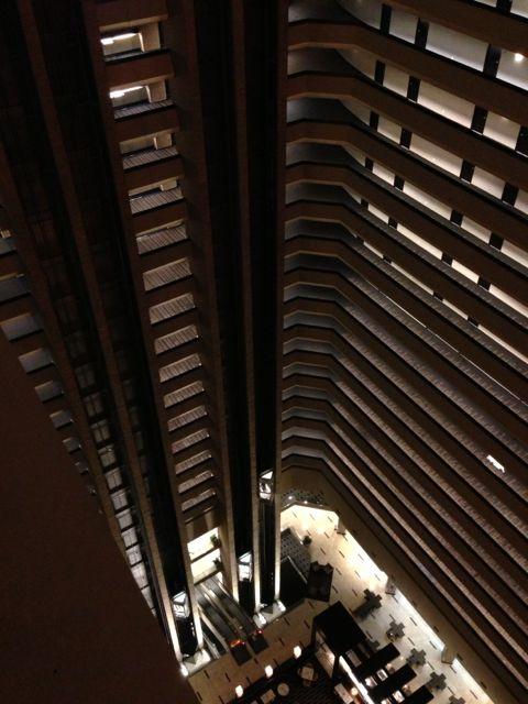 The New Orleans Hyatt Regency interior atrium from the 25th floor