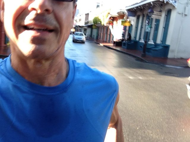 jogging down Bourbon Street