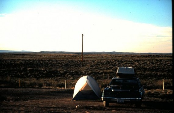 Honeymooners camping beside Wyoming Interstate