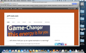 A November 2012 screen shot of jeffnoel.com landing page