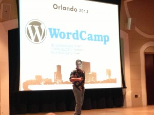 photo of jeff noel on stage at WordCamp Orlando 2012