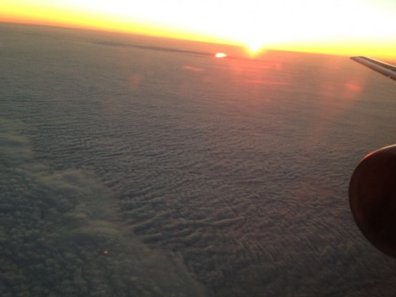 Delta flight sunset from 35k feet