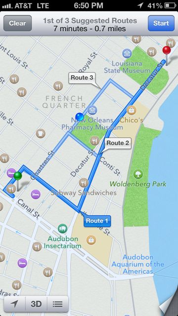 Three decent routes to get to Cafe Du Monde
