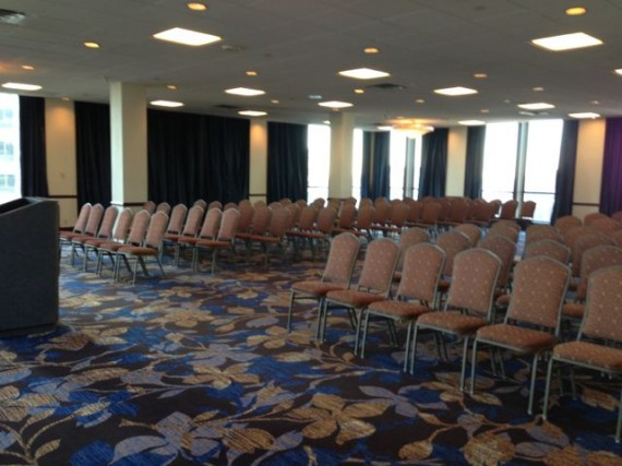 empty chairs in hotel meeting room