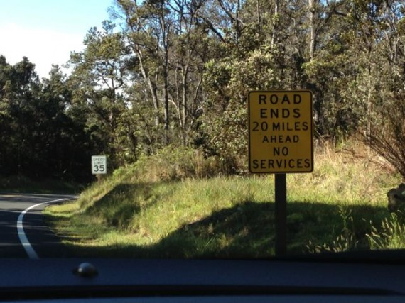 Volcanoes National Park road ends