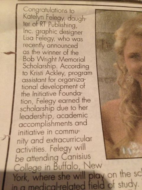 Newspaper write up on young woman heading off to college