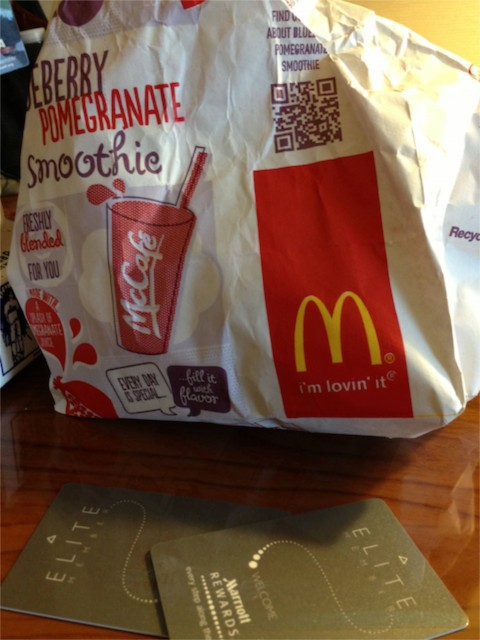 McDonald's to go bag and two Marriott room keys