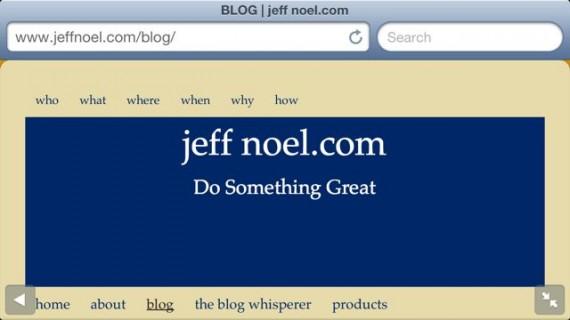 jeff noel .com website header color is dark blue on purpose
