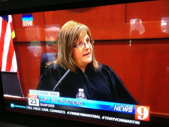 TV shot of judge instructing George Zimmerman trial jurors