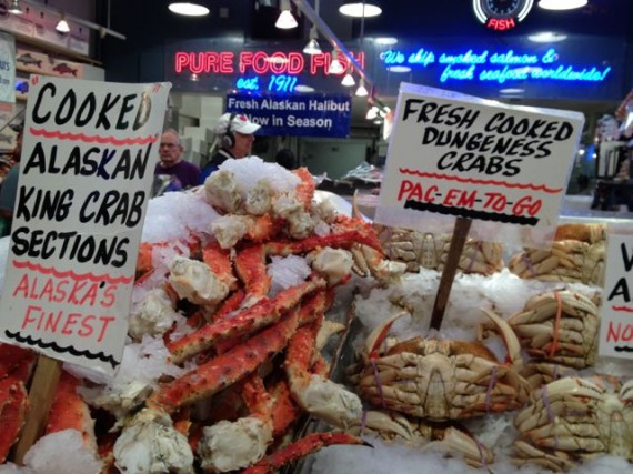 This Pike Place fresh fish stand is less than 50 meters from FISH throwing