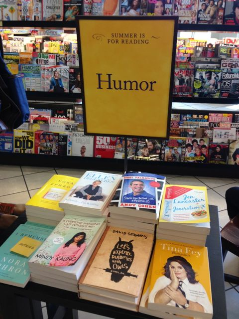 Summer humor reading table at Barnes and Noble