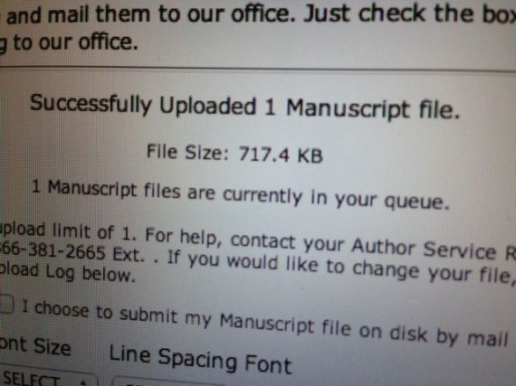 The real deal - it's official. September 10, 2013 book manuscript submitted.