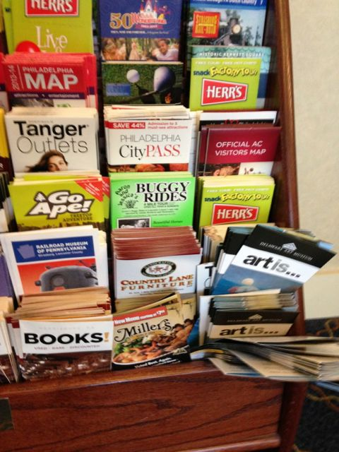 Hotel lobby tourist brochure rack