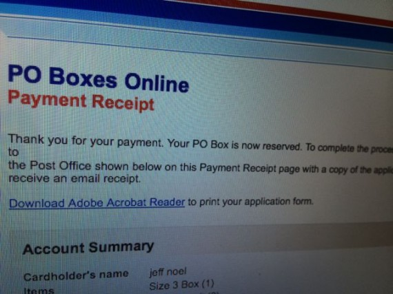 USPS PO Box online receipt