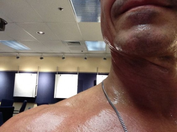 sweaty running man in classroom