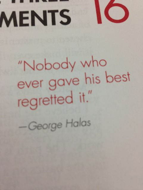 George Halas quote on regret