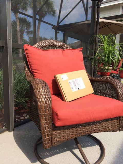 Mid Life Celebration book package on poolside chair