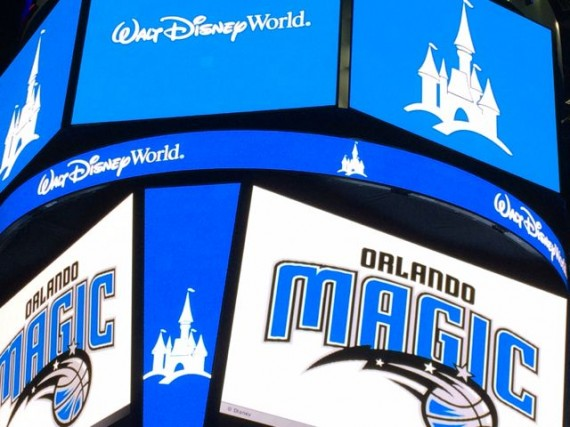 Amway Center Orlando Magic and Walt Disney World signs