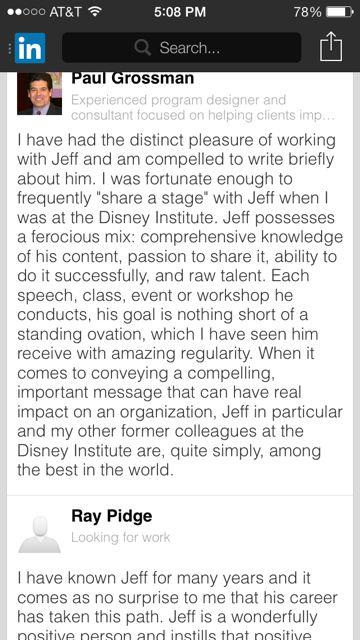 recommendation for jeff noel on LinkedIn