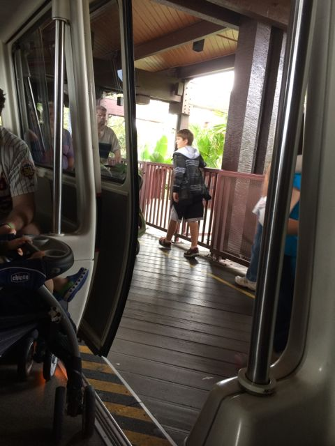 Disney Monorail door open at Polynesian Resort