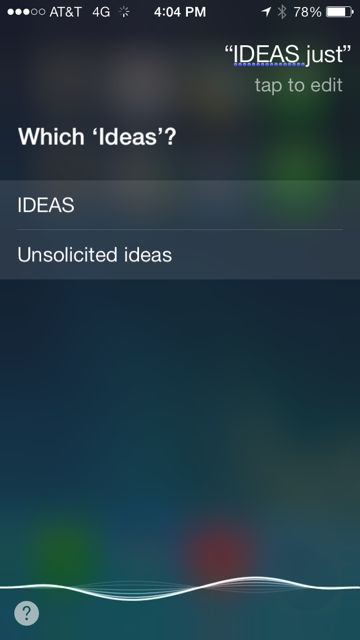 Siri response screen shot