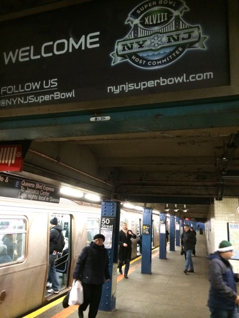 NFL Super Bowl 48 sign in NYC subway