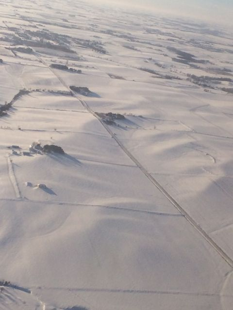 Rural Iowa covered in snow