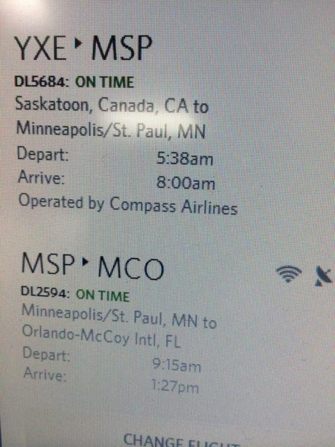 Travel itinerary screen shot