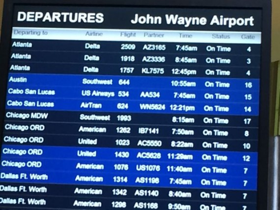 John Wayne airport departure schedule screen