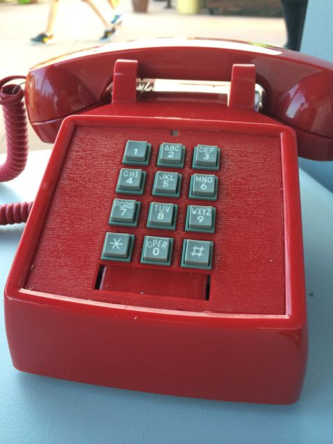 Bright red old-school handset phone