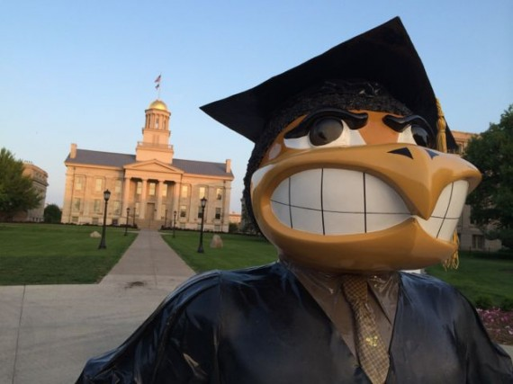 University of Iowa Herky in front of Old Capital Building