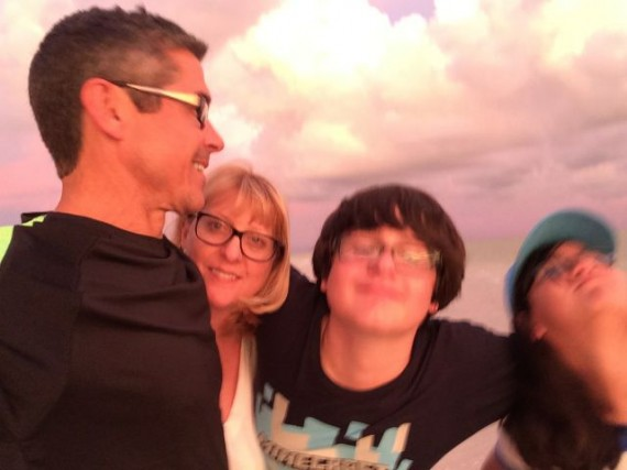 Blurry family selfie on Sanibel Island at sunset