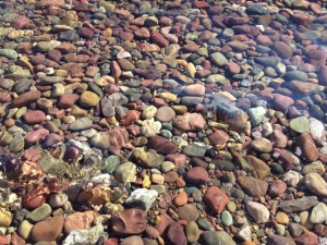 Lake McDonald shoreline rocks under water