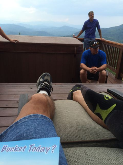 relaxing on a cabin deck
