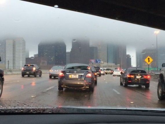 Houston skyline on a rainy day