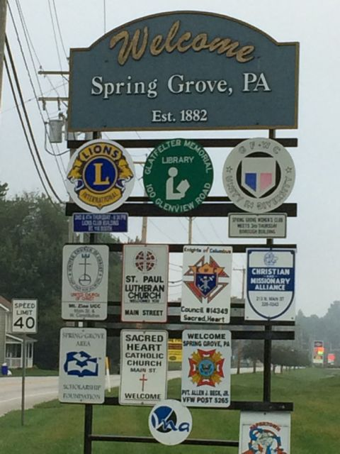 Small town welcome sign