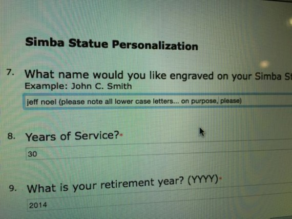 Disney Retirement form