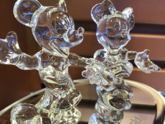 Crystal Mickey and Minnie Mouse figurines at Epcot