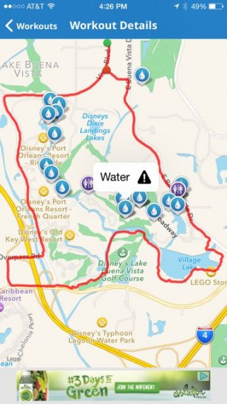 Map My Run app highlighting the run through Disney World