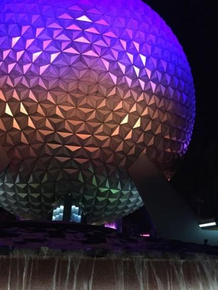 Epcot Spaceship Earth at night