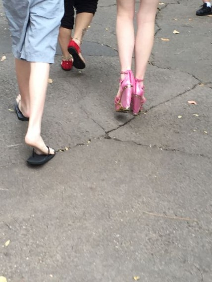 Pink high heels at Disney Park