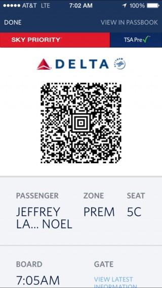 Delta digital boarding pass