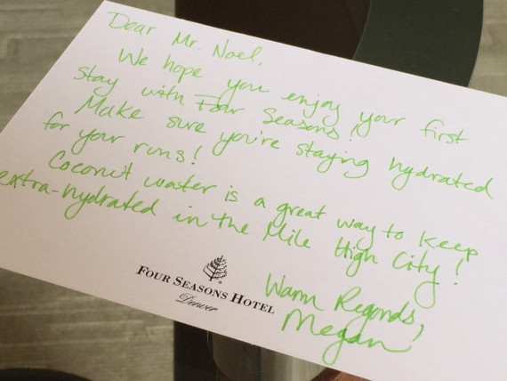 Four Seasons personal welcome note