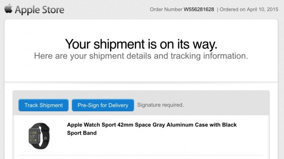Apple Watch delivery email update