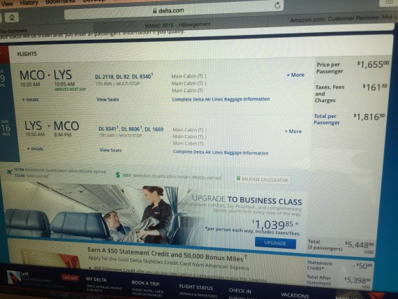 Delta airfare purchase screen shot