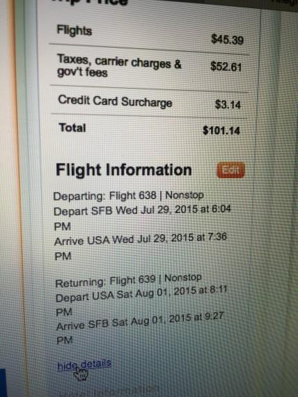 Allegiant flight receipt