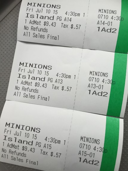 Minion's movie tickets
