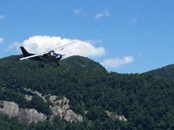 Small plane buzzing Chimney Rock